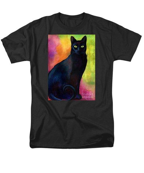 Black Cat 9 Watercolor Painting Men's T-Shirt  (Regular Fit) by Svetlana Novikova