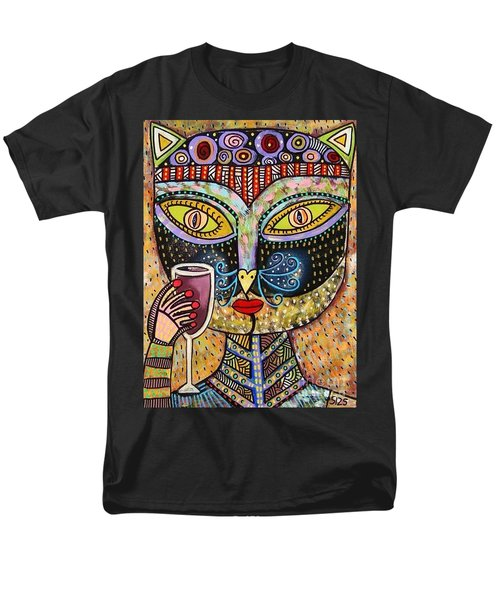 Black Cat Drinking Red Wine Men's T-Shirt  (Regular Fit) by Sandra Silberzweig