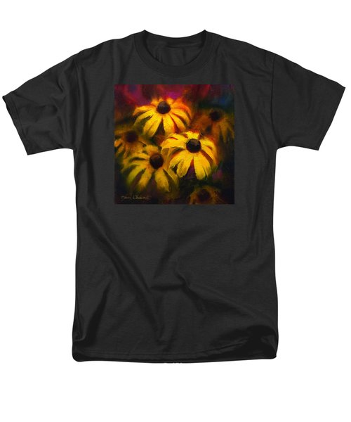 Men's T-Shirt  (Regular Fit) featuring the painting Black Eyed Susans - Vibrant Flowers by Karen Whitworth
