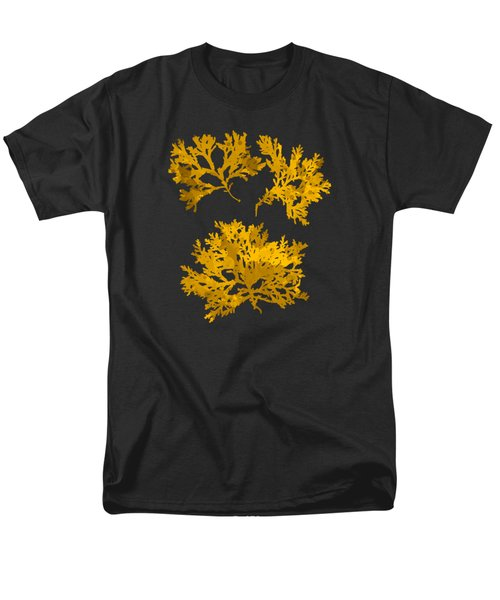 Men's T-Shirt  (Regular Fit) featuring the mixed media Black Gold Leaf Pattern by Christina Rollo