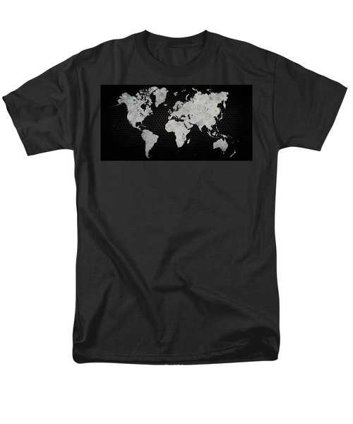 Black Metal Industrial World Map Men's T-Shirt  (Regular Fit) by Douglas Pittman