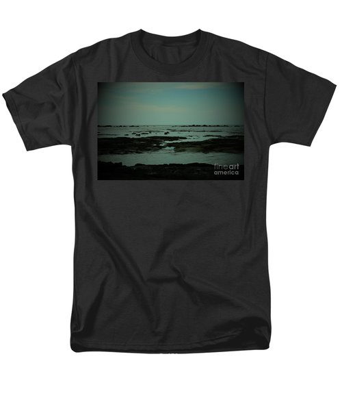 Black Rock Beach Men's T-Shirt  (Regular Fit) by Mini Arora