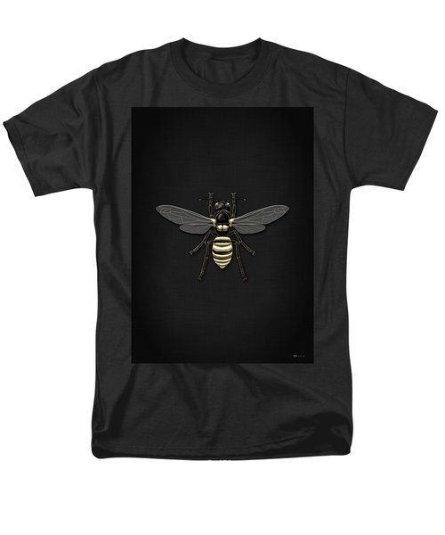 Black Wasp With Gold Accents On Black  Men's T-Shirt  (Regular Fit) by Serge Averbukh