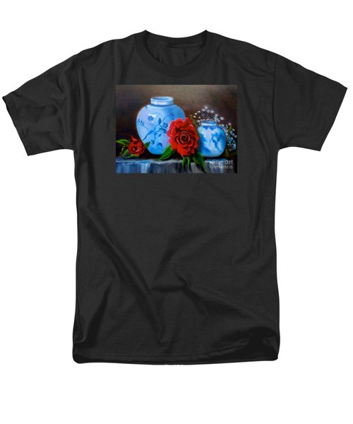 Men's T-Shirt  (Regular Fit) featuring the painting Blue And White Pottery And Red Roses by Jenny Lee