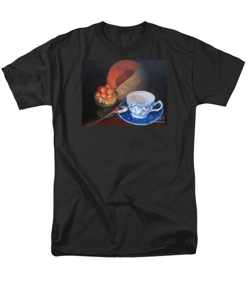 Blue And White Teacup And Melon Men's T-Shirt  (Regular Fit) by Marlene Book