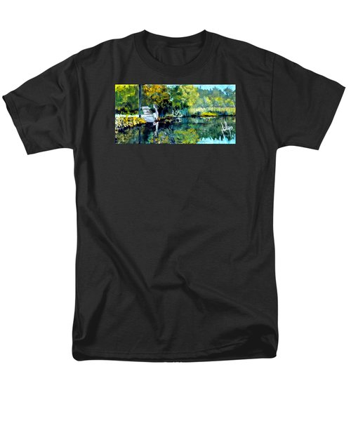 Blue Creek Fish Camp Men's T-Shirt  (Regular Fit) by Jim Phillips