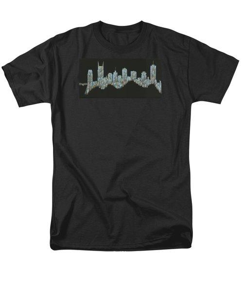 Blue Floating Nashville Skyline Men's T-Shirt  (Regular Fit) by Helen Prater