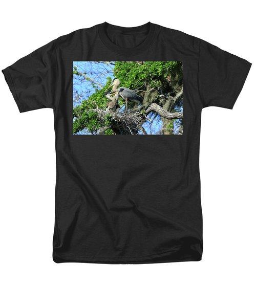 Men's T-Shirt  (Regular Fit) featuring the photograph Blue Heron Series Baby 1 by Deborah Benoit