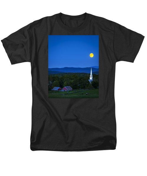Blue Moon Rising Over Church Steeple Men's T-Shirt  (Regular Fit) by John Vose
