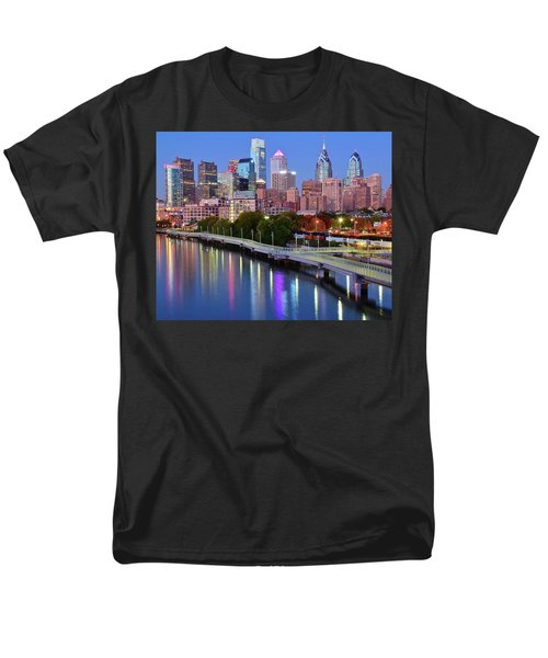 Men's T-Shirt  (Regular Fit) featuring the photograph Blue Night Lights In Philly by Frozen in Time Fine Art Photography