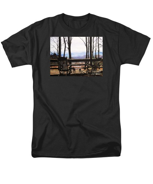 Men's T-Shirt  (Regular Fit) featuring the painting Blue Ridge Mountain Porch View by Patricia L Davidson