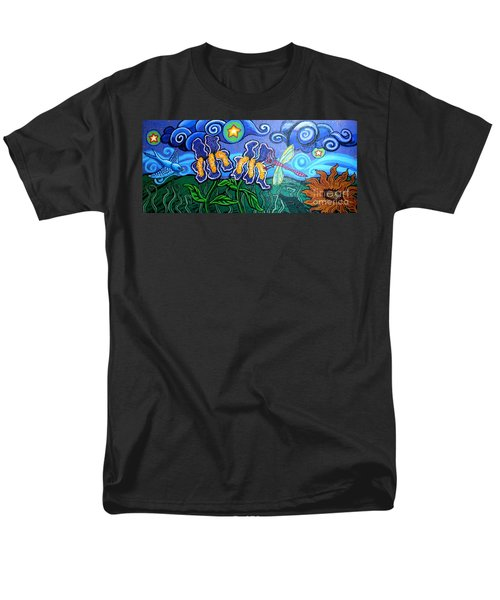Bluebird Dragonfly And Irises Men's T-Shirt  (Regular Fit) by Genevieve Esson