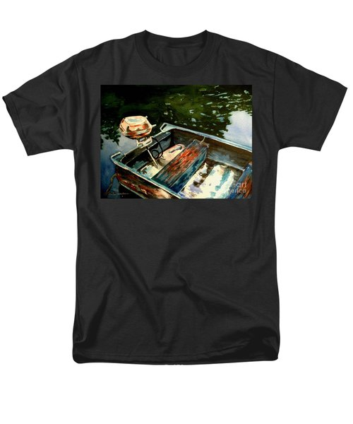 Men's T-Shirt  (Regular Fit) featuring the painting Boat In Fog 2 by Marilyn Jacobson