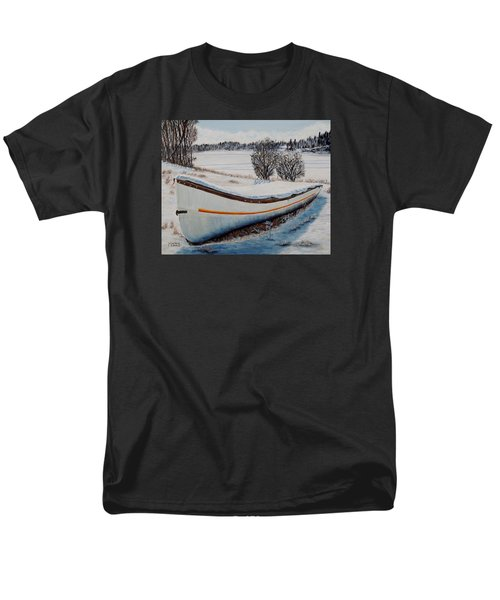 Men's T-Shirt  (Regular Fit) featuring the painting Boat Under Snow by Marilyn  McNish