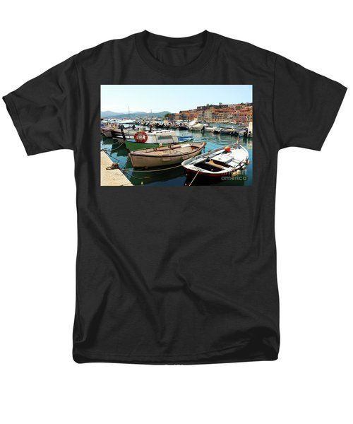 Men's T-Shirt  (Regular Fit) featuring the photograph Boats In The Harbour by MGL Meiklejohn Graphics Licensing