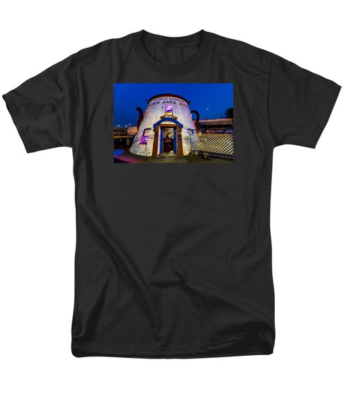 Men's T-Shirt  (Regular Fit) featuring the photograph Bob's Java Jive - Historic Landmark During Blue Hour by Rob Green
