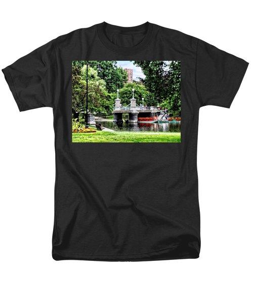 Boston Ma - Boston Public Garden Bridge Men's T-Shirt  (Regular Fit) by Susan Savad