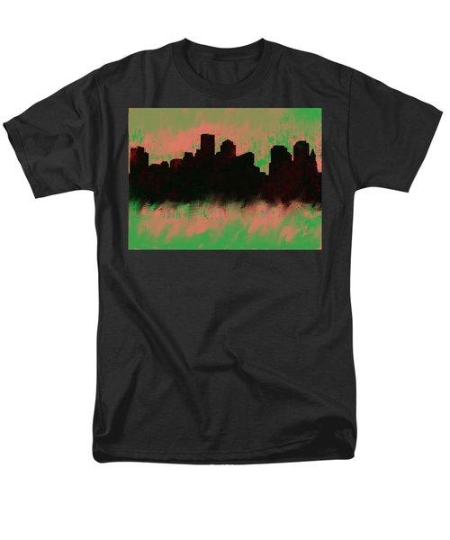 Boston Skyline Green  Men's T-Shirt  (Regular Fit) by Enki Art