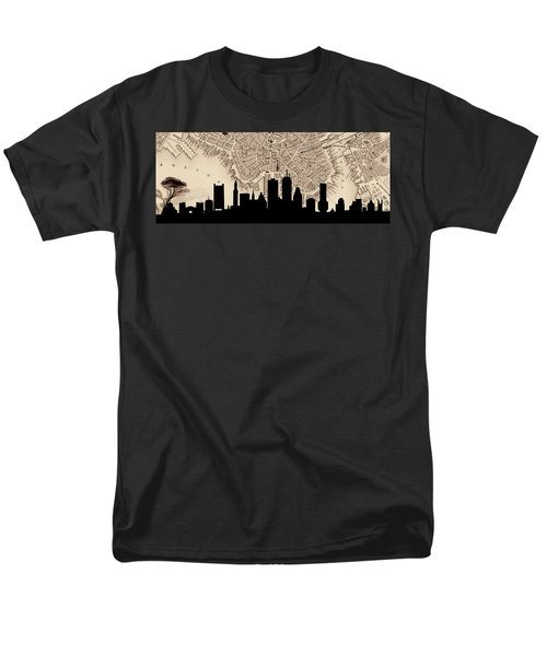 Boston Skyline Vintage Men's T-Shirt  (Regular Fit) by Andrew Fare