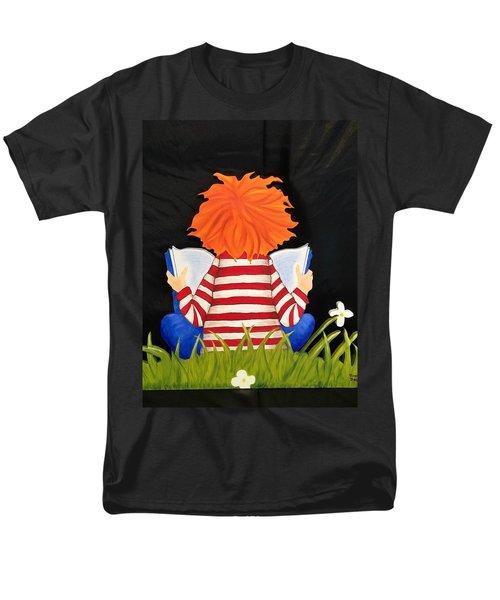 Boy Reading Book Men's T-Shirt  (Regular Fit)