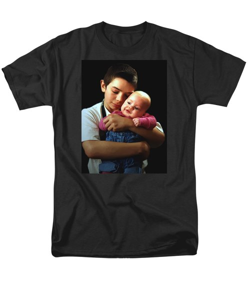 Men's T-Shirt  (Regular Fit) featuring the photograph Boy With Bald-headed Baby by RC deWinter