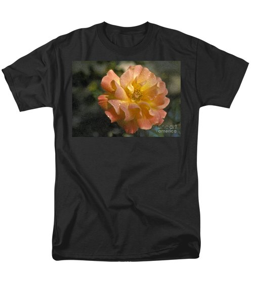 Men's T-Shirt  (Regular Fit) featuring the photograph Bridal Pink Yellow Hybrid Tea Rose Genus Rosa by David Zanzinger