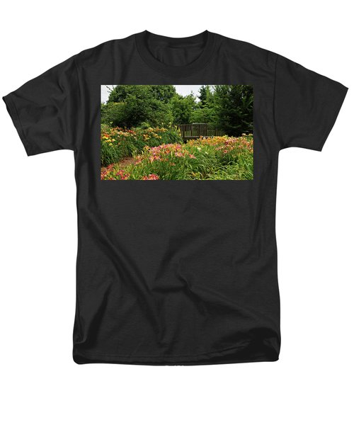 Men's T-Shirt  (Regular Fit) featuring the photograph Bridge In Daylily Garden by Sandy Keeton