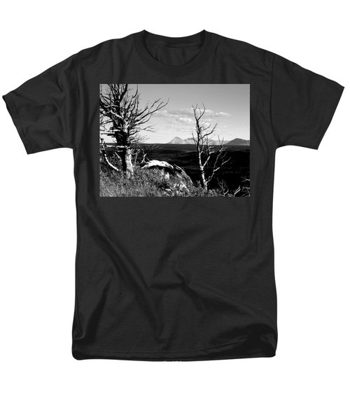 Bristle Cone Pines With Divide Mountain In Black And White Men's T-Shirt  (Regular Fit)