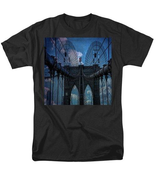 Men's T-Shirt  (Regular Fit) featuring the photograph Brooklyn Bridge Webs by Chris Lord