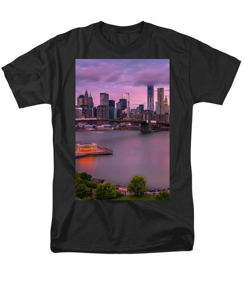 Men's T-Shirt  (Regular Fit) featuring the photograph Brooklyn Bridge World Trade Center In New York City by Ranjay Mitra