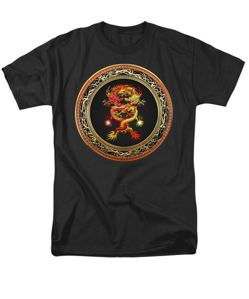 Brotherhood Of The Snake - The Red And The Yellow Dragons On Black Velvet Men's T-Shirt  (Regular Fit) by Serge Averbukh