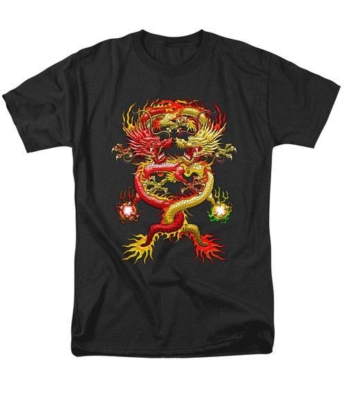 Brotherhood Of The Snake - The Red And The Yellow Dragons On Red And Black Leather Men's T-Shirt  (Regular Fit) by Serge Averbukh