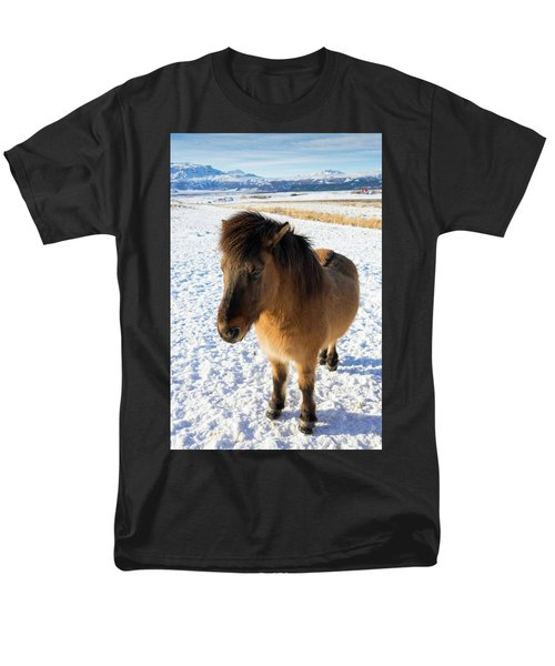 Men's T-Shirt  (Regular Fit) featuring the photograph Brown Icelandic Horse In Winter In Iceland by Matthias Hauser