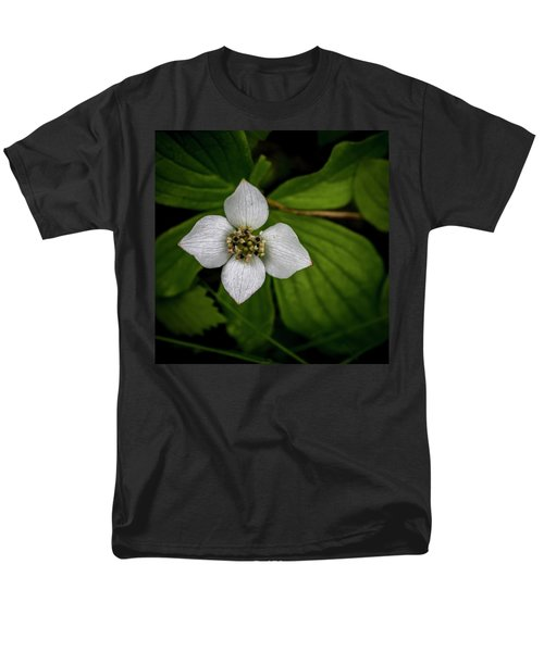 Men's T-Shirt  (Regular Fit) featuring the photograph Bunchberry Dogwood On Gloomy Day by Darcy Michaelchuk