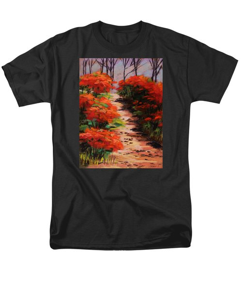 Men's T-Shirt  (Regular Fit) featuring the painting Burning Bush Along The Lane by John Williams