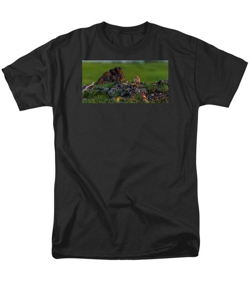 Men's T-Shirt  (Regular Fit) featuring the photograph Burrowing Owl In Cactus #1 by Yeates Photography