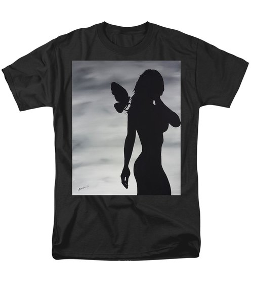Men's T-Shirt  (Regular Fit) featuring the painting Butterfly Silhouette by Edwin Alverio