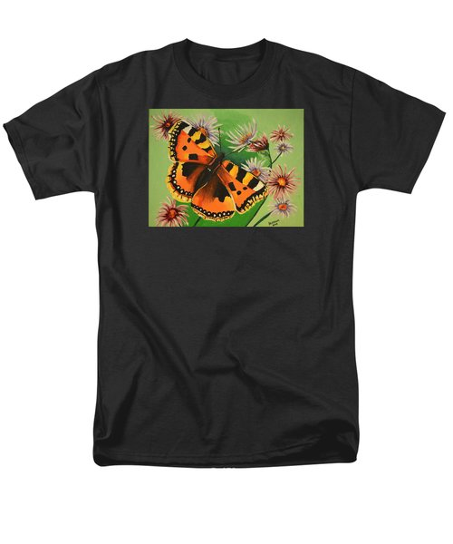 Men's T-Shirt  (Regular Fit) featuring the painting Butterfly With Asters by Donna Blossom