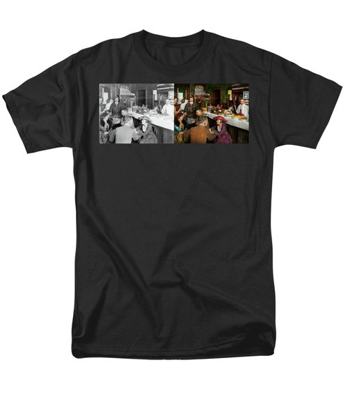 Men's T-Shirt  (Regular Fit) featuring the photograph Cafe - Temptations 1915 - Side By Side by Mike Savad