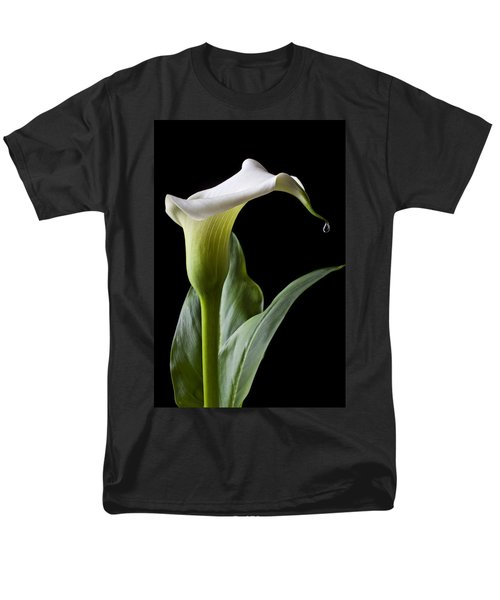 Calla Lily With Drip Men's T-Shirt  (Regular Fit) by Garry Gay