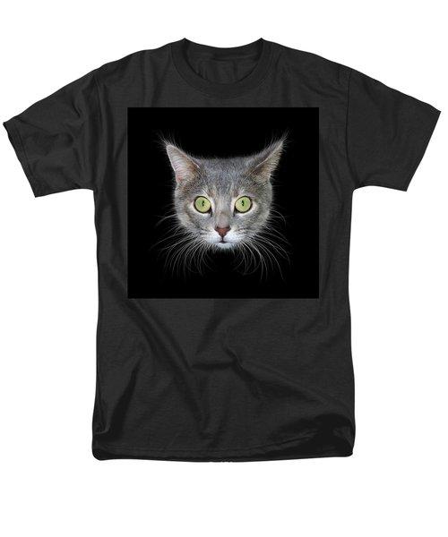 Cat Head On Black Background Men's T-Shirt  (Regular Fit) by James Larkin