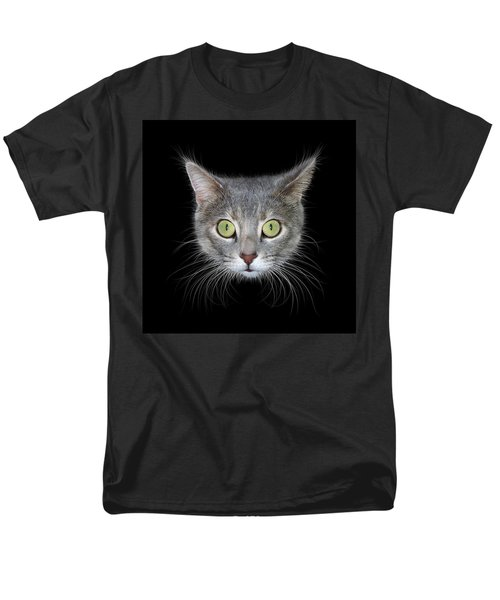 Cat Head On Black Background Men's T-Shirt  (Regular Fit)