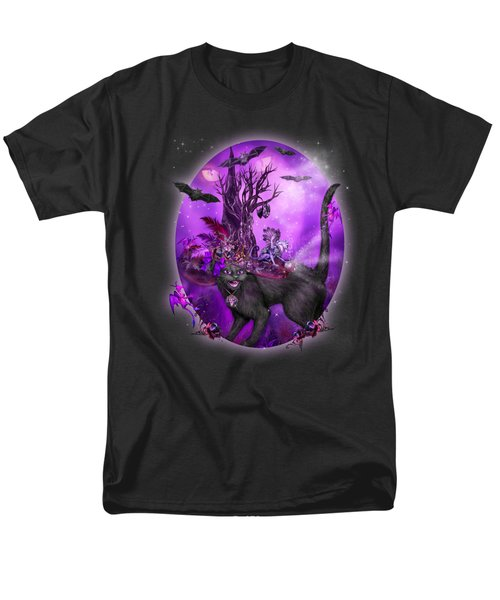 Men's T-Shirt  (Regular Fit) featuring the mixed media Cat In Goth Witch Hat by Carol Cavalaris