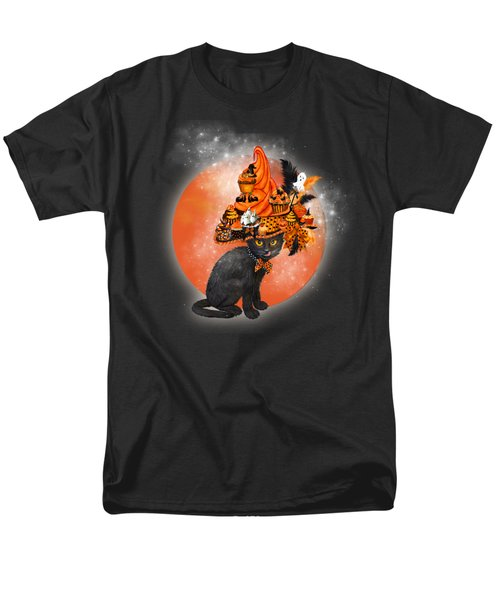 Men's T-Shirt  (Regular Fit) featuring the painting Cat In Halloween Cupcake Hat by Carol Cavalaris