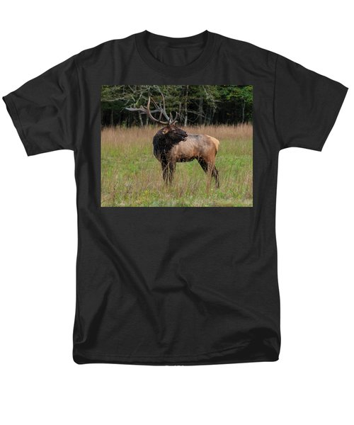 Men's T-Shirt  (Regular Fit) featuring the digital art Cataloochee Valley Elk  by Chris Flees