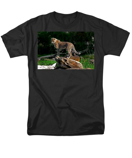 Cheetah Cub Finds Her Pride Rock Men's T-Shirt  (Regular Fit) by Miroslava Jurcik