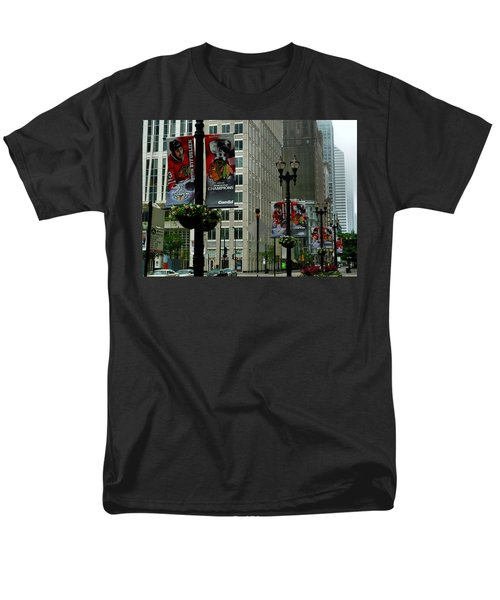 Chicago Blackhawk Flags Men's T-Shirt  (Regular Fit) by Ely Arsha