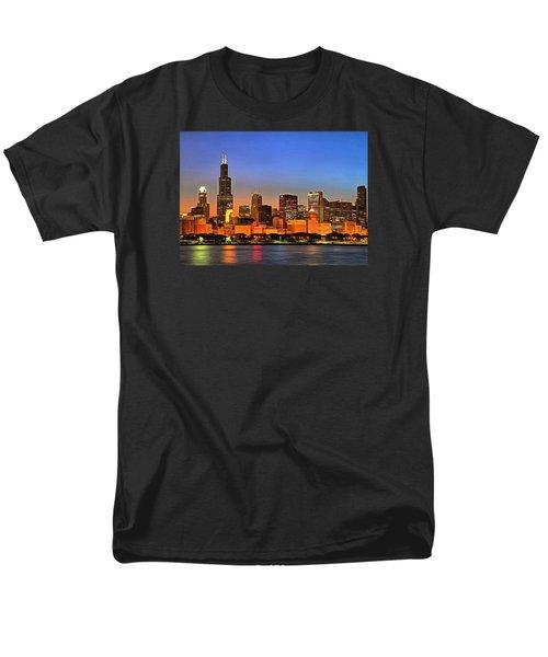 Men's T-Shirt  (Regular Fit) featuring the digital art Chicago Dusk by Charmaine Zoe