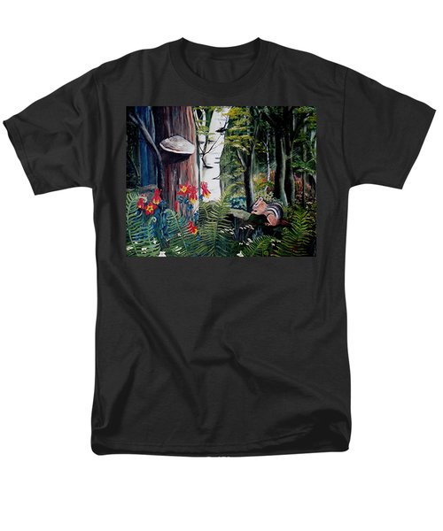 Men's T-Shirt  (Regular Fit) featuring the painting Chipmunk On A Log by Renate Nadi Wesley