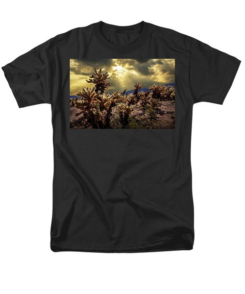 Men's T-Shirt  (Regular Fit) featuring the photograph Cholla Cactus Garden Bathed In Sunlight In Joshua Tree National Park by Randall Nyhof
